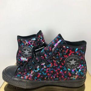 Converse Womens 8.5 Black Sequin Sneaker Chuck